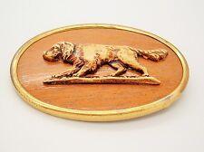 Vtg Antique Irish Setter Retriever Pointer Hunting Dog wood plastic Pin Brooch