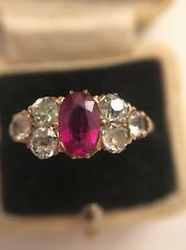 Antique Victorian Yellow Gold Ruby And Diamond Stunning Unusual 7 Stone Ring