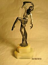 EXQUISITE ART DECO STYLE, PAINTED BRONZE DANCER ON ONYX BASE, 7 INCHES HIGH