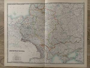 1893 S.W. Russia, Poland, Ukraine, Belarus, Lithuania, Latvia & Crimea Large Map