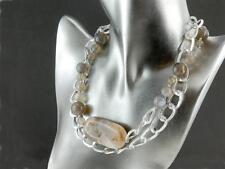 Halskette - graue Achate und versilberte Ringe - Länge 90 cm / 9798