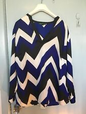 Ralph Lauren black navy and white diagonally stripped top in size 1X