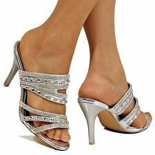 NEW LADIES DIAMANTE MID HEEL EVENING BRIDAL SLIP ON SHOES SANDAL MULES-GH199