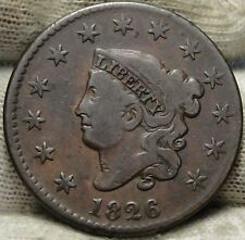 1826 Penny Coronet Large Cent - N-9 R3, Nice Coin, Free Shipping (5806)