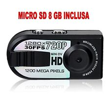 MINI TELECAMERA PORTATILE DIGITALE HD 720p + SD8GB RILEVATORE MOVIMENTO 1280x720