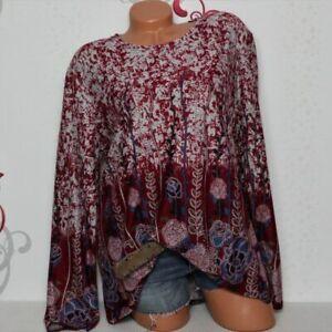 Damen Pullover Tunika Shirt Langarm Glitzer Print M/L 42 44