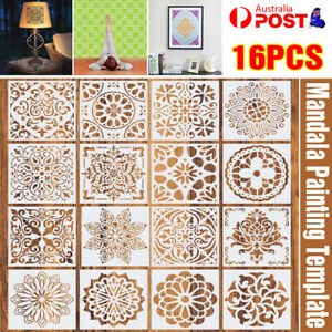 16 Pack Mandala Painting Stencils Drawing Dot Templates For Floor Wall DIY Decor