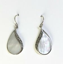 Sterling Silver Pear Shaped White Mother Of Pearl Filigree Dangle Earrings.