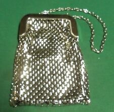 """Vintage Whiting and Davis Silver Metal Mesh 10"""" Chain Evening Bag Purse"""