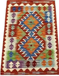 REAL Genuine Afghan Handmade Tribal Multi Colour Wool Kilim  Area Rug 54x86 cm