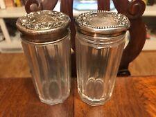 2 Antique Sterling Top Crystal Vanity Dresser Jars Not Scrap