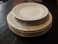 Noritake Savannah 2031(4)Salad Plates & (4) Bread Plates Platinum Rim Blue Pink