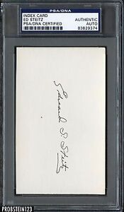 Index Card Ed Steitz Signed AUTO PSA/DNA AUTHENTIC