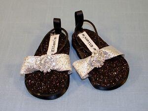 18 Inch Doll Shoes Black Glitter Silver Ribbon Rhinestone Sandals by Jane Ellen