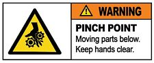 2 x - WARNING - PINCH POINT - Sign Self Adhesive Removable Vinyl Sticker
