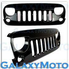 07-16 Jeep JK Wrangler Front Hood Gloss Black Replacement Grille Shell Rubicon