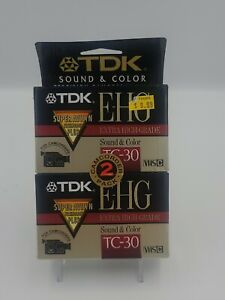 TDK 2 Pack E-HG TC-30 VHS-C Extra High Grade Camcorder Blank Tapes, NEW