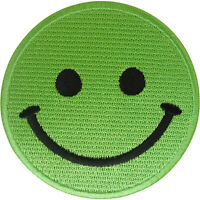Green Smiley Face Patch Iron On Sew On T Shirt Dress Jeans Bag Embroidered Badge