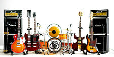 Led Zeppelin Miniature Guitars and Drum Set E with Timpani, Gong, Amps & Mic