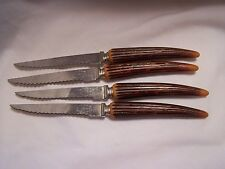4 Vintage Stainless Steel Knives Sheffield England Faux Stag Antler Bone Handle