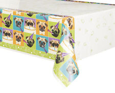 PUG PUPPY BIRTHDAY PLASTIC TABLE COVER ~ Party Supplies Decorations Cloth Dog