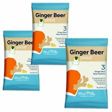 3x Mad Millie Ginger Levure De Bière 3x Sachets rend 13.5 L 3 Gal (environ 11.36...