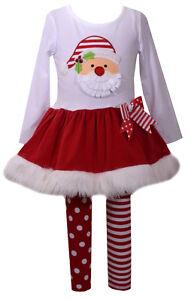 Bonnie Jean Baby Girls Santa Face  Fur Christmas Red Dress 2 pcs Set 0-24 Months