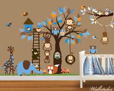 Monkey Animal Owl Wall Stickers Jungle Zoo Tree Nursery Baby Bedroom Decals Art