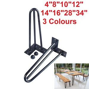 Hairpin Legs Set of 4 Legs - 4 to 34 inch Table Legs 3 Colours Fast Delivery UK