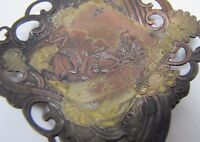 Asian Ornate Decorative Art Copper Brass Wash Pin Card Tip Ring Old Tray