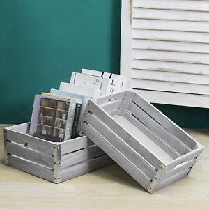 MyGift Set of 2 Light Gray Nesting Wood Decorative Pallet Storage Crate Boxes