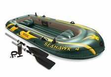Intex Seahawk 4 Inflatable Raft River Lake Dinghy Boat, Pump & Oars Set 68351EP