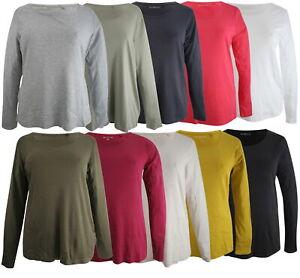 Ex-Store Ladies Plus Size Cotton Long Length Sleeve Scoop Neck Top