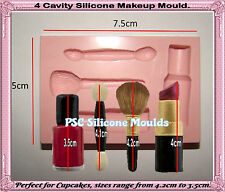 Silicone Makeup Mould Nail Varnish Lipstick Blusher Brush Icing Cupcake Toppers.
