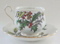 Vintage Christmas Tea Cup/Saucer Royal Albert Holly #12 Flowers of the Month