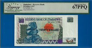 Zimbabwe-Reserve Bank 20 Dollars 1997 p.7a Superb Gem New
