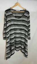 TS Virtuelle Tunic 18 20 L Jumper Grey Black Knit Asymmetric Pockets Striped