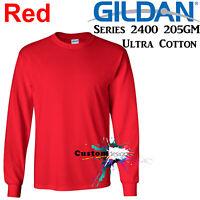 Gildan Long Sleeve T-SHIRT Red Basic tee S - XXL Men's Ultra Cotton jumper