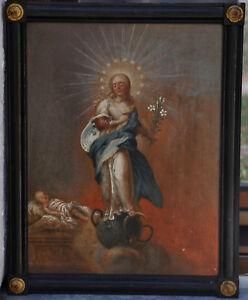 """Ölgemälde """"Maria Immaculata """", Öl auf Fichtenholz, um 1800., 39 x 50 cm"""