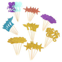 39pcs Mermaid Cupcake Toppers Ocean World Cake Picks for Birthday Party DecoHS8