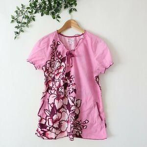 Koi Kathy Peterson Ruffle Trim Tie Neck Floral Print Scrub Top Pink M Medium