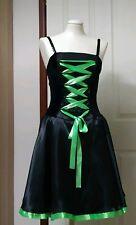 Green and Black Dress. Lace up Bodice. Full circle skirt size Medium Halloween?