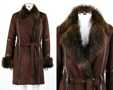 RIZAL Brown Suede Leather Sheepskin Shearling Studded Jacket Coat & Belt Size 12