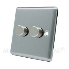 Satin Chrome Classical LED Light Dimmer 250W 10 Amp 2 Gang 2 Way - CSC2GDIMLED