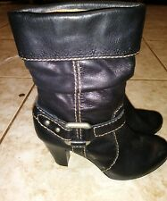 Fossil Black Leather Ankle Boots Tan  Stitching Sz 6M
