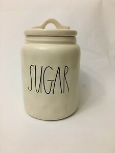 Rae Dunn By Magenta Large Letter Small Sugar Canister With Lid Ivory W Dimples