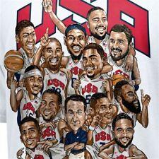 Nike USA 2012 Basketball Roster T-Shirt men's sz Large Lebron James King Kobe