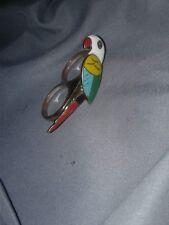UNIQUE RED & YELLOW ENAMEL GOLD TONE PARROT BIRD DOUBLE FINGER RING