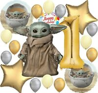 Baby Yoda Star Wars The Mandalorian Party Balloon Bundle for 1st Birthday Deluxe