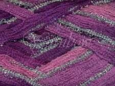 Euro Yarns ::Broadway #04:: ruffle scarf yarn Rose-Violet-Purple w/Silve 50% OFF